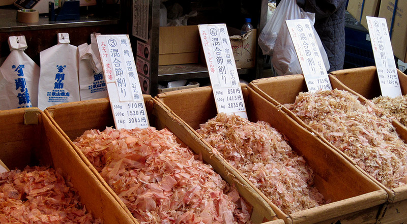 Katsuobushi fermented fish flakes for sale in trays