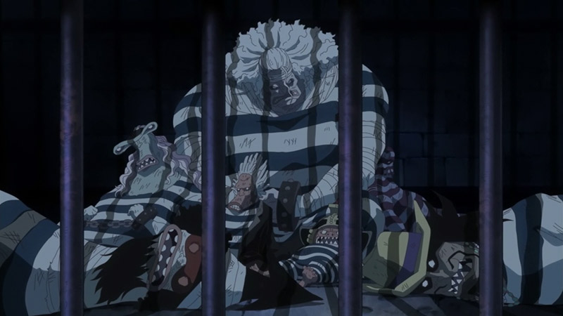 bad guys from one piece sitting in prison at night