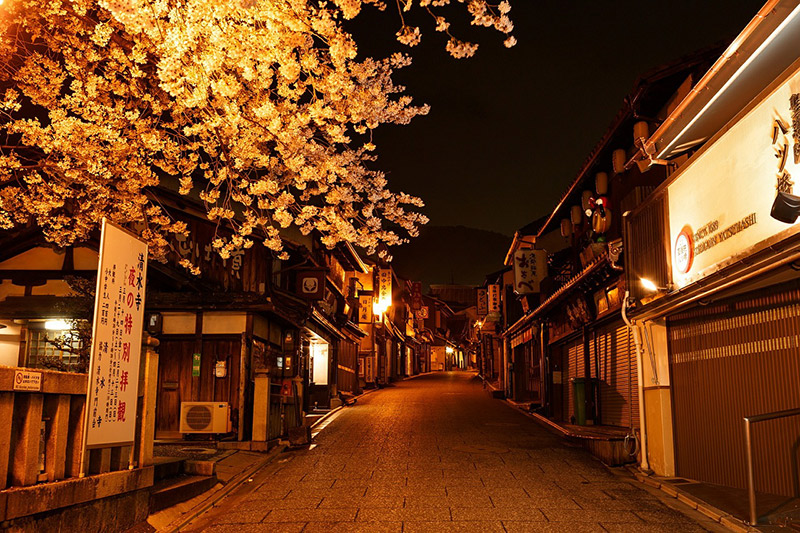 empty deserted street in japan at night