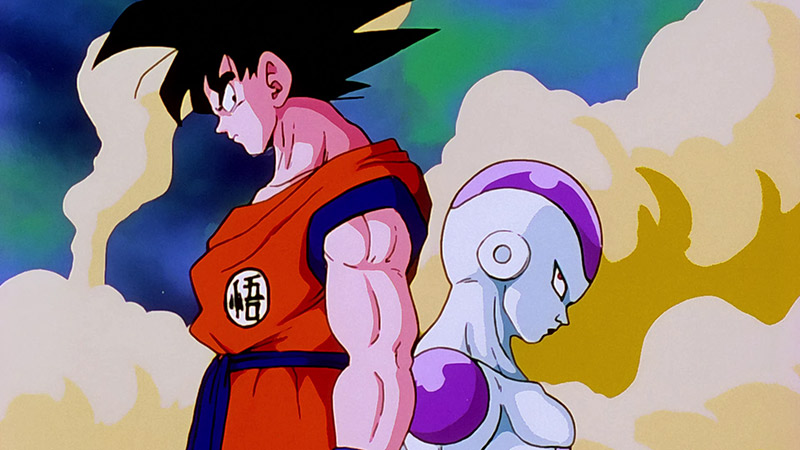 Goku and Frieza pause their battle in Dragon Ball Z