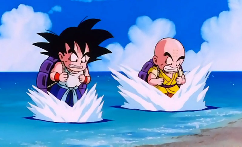 Goku and Krillin train in Dragon Ball