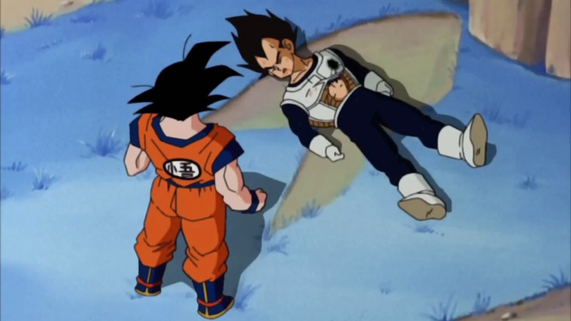 Goku talks to a downed Vegeta in Dragon Ball Z