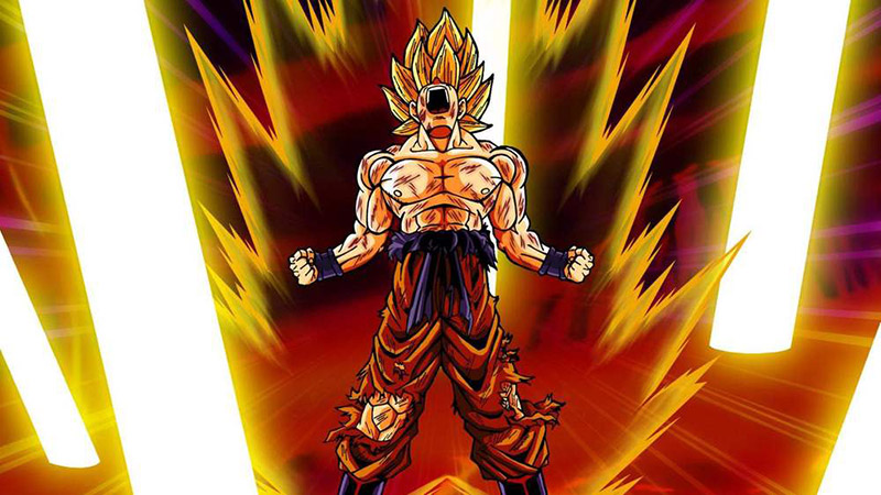 Goku achieving Super Saiyan form in Dragon Ball Z