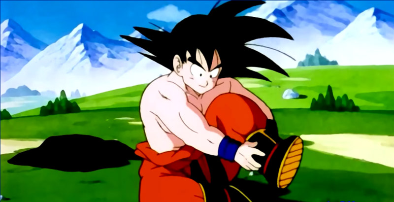 Goku from Dragon Ball Z putting on his shoes