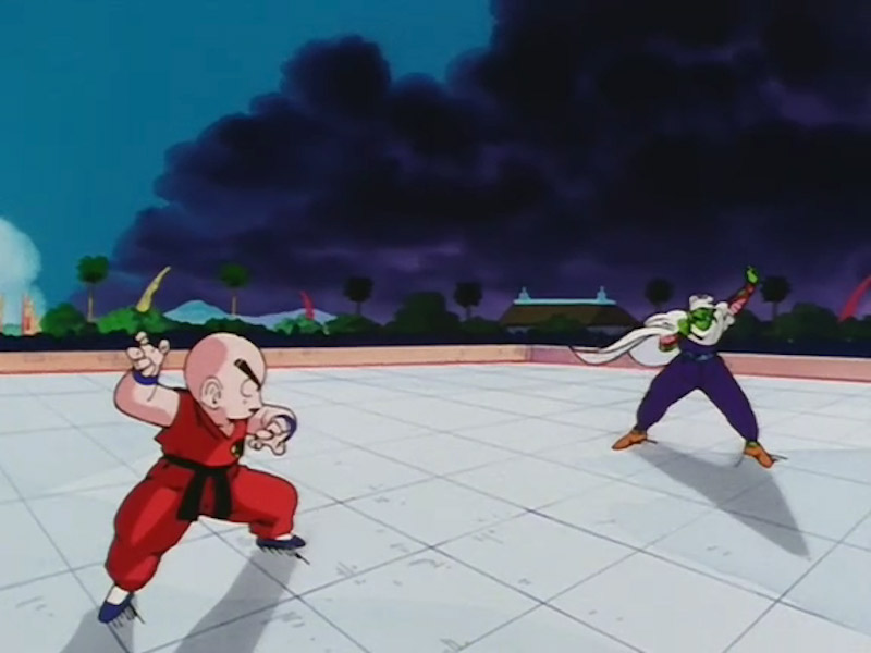 Krillin and Piccolo prepare to fight in Dragon Ball Z