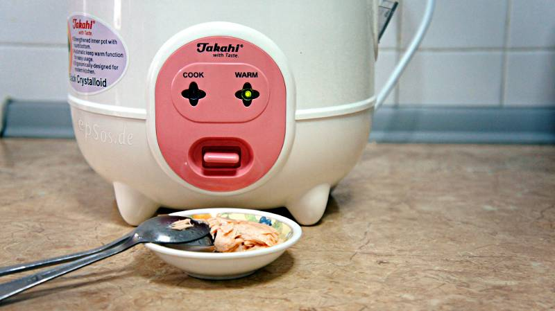 A rice cooker sticks its tongue out