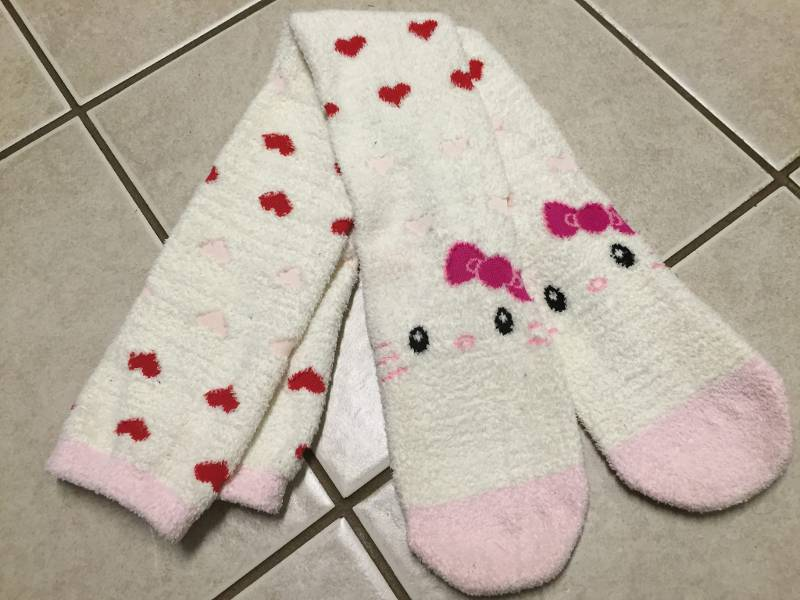 Very fuzzy-looking Hello Kitty socks