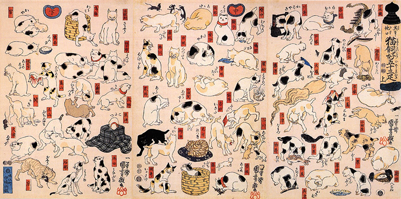 the 53 stations of the tokaido as cats