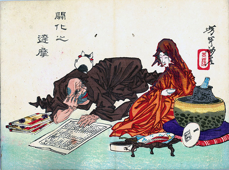 ukiyo-e cat print of a kitty sitting on a mans head
