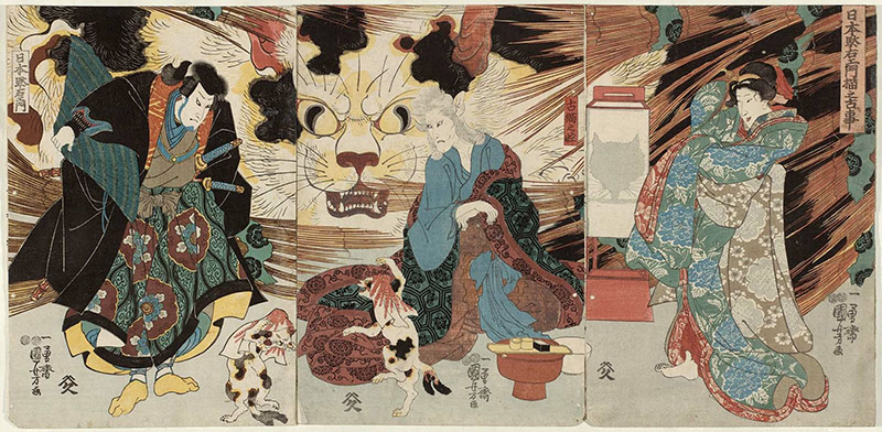 ukiyo-e cats that are humans and demons