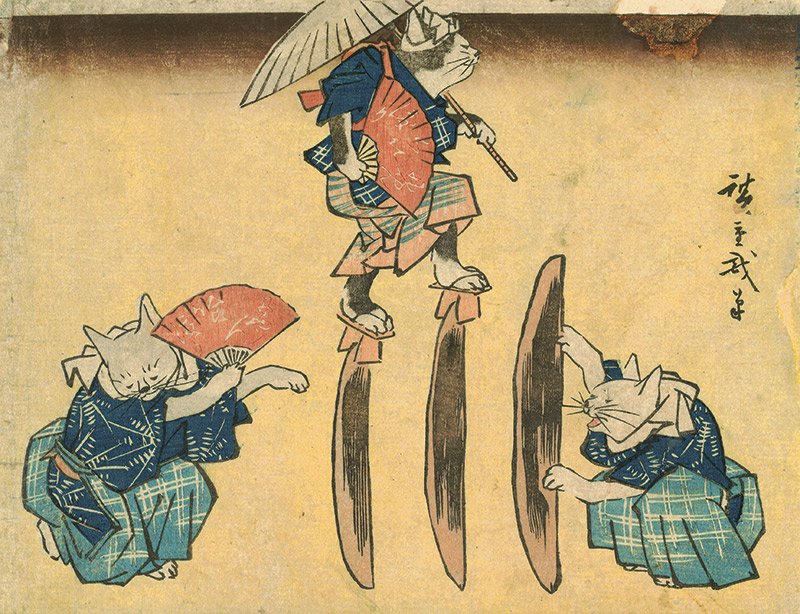 ukiyo-e cats performing acrobatics