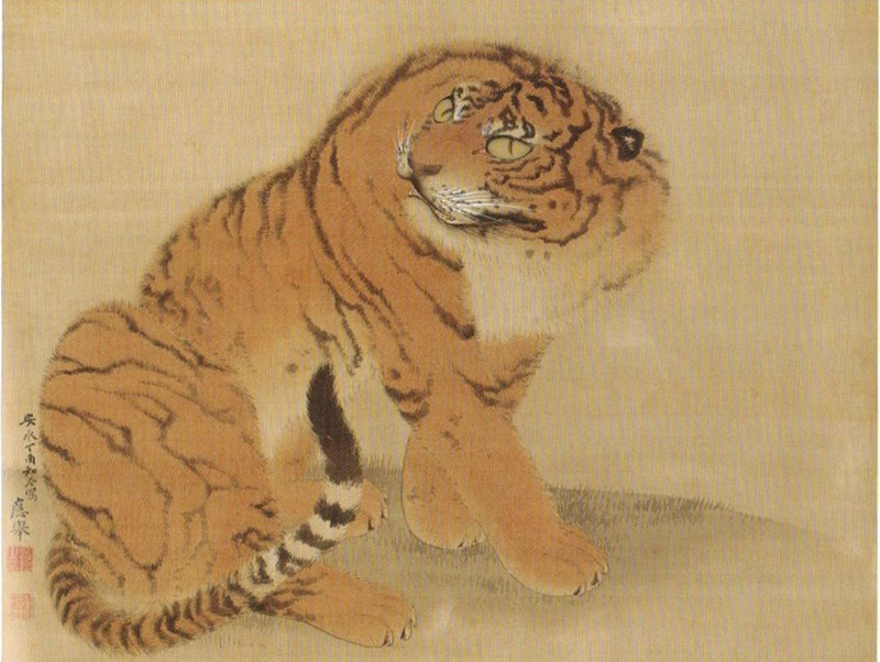 japanese painting of a tiger