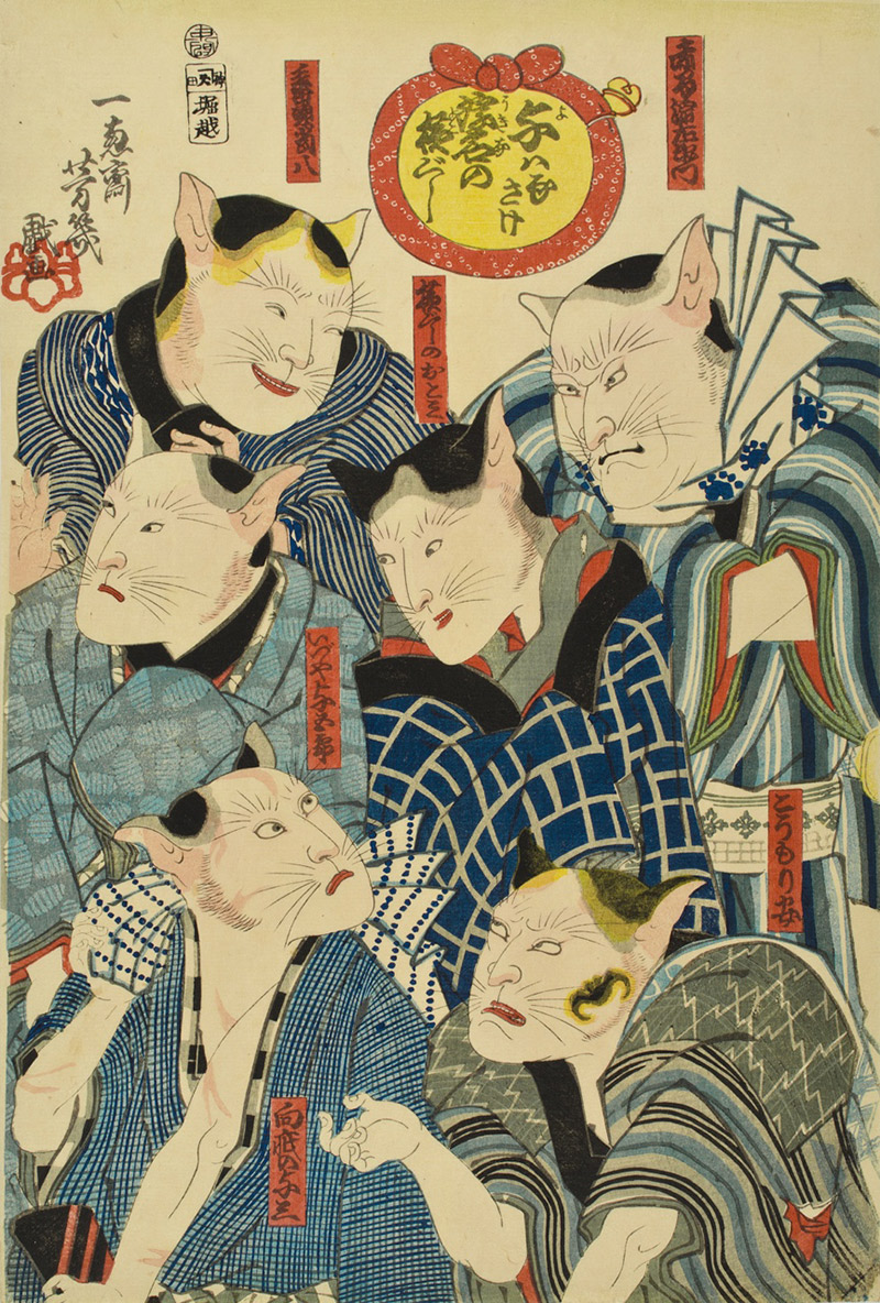 ukiyo-e cats who are kabuki actors