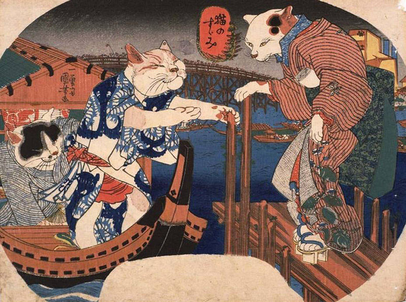 ukiyo-e cats in edo period clothing rowing a boat
