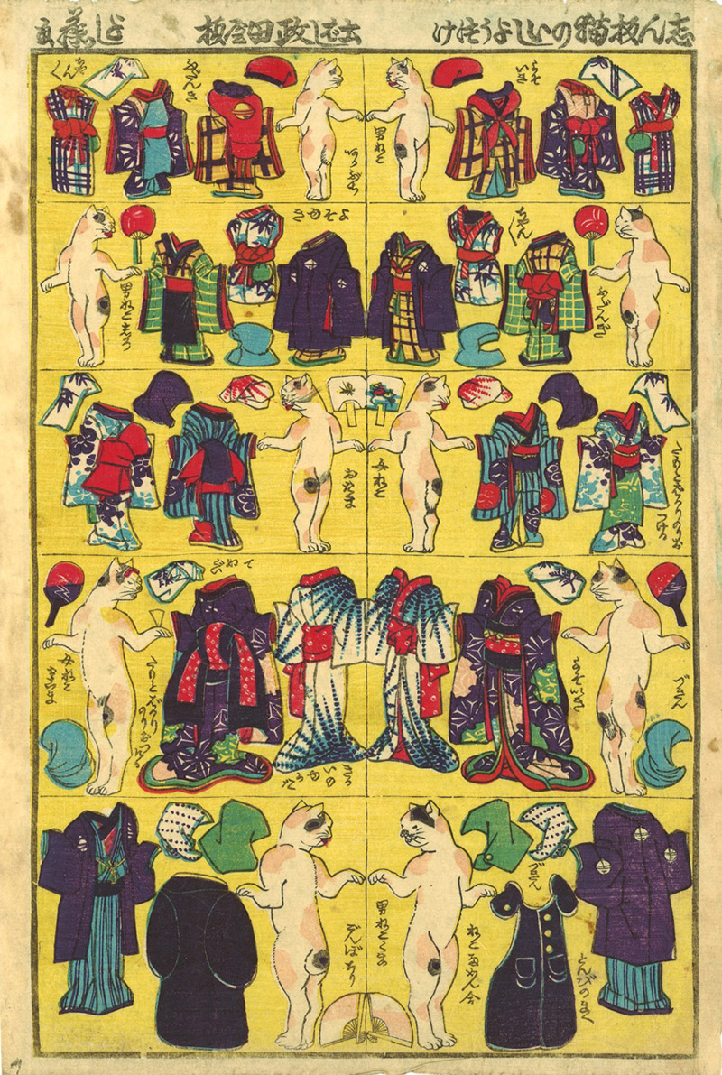 ukiyo-e cat paper dolls
