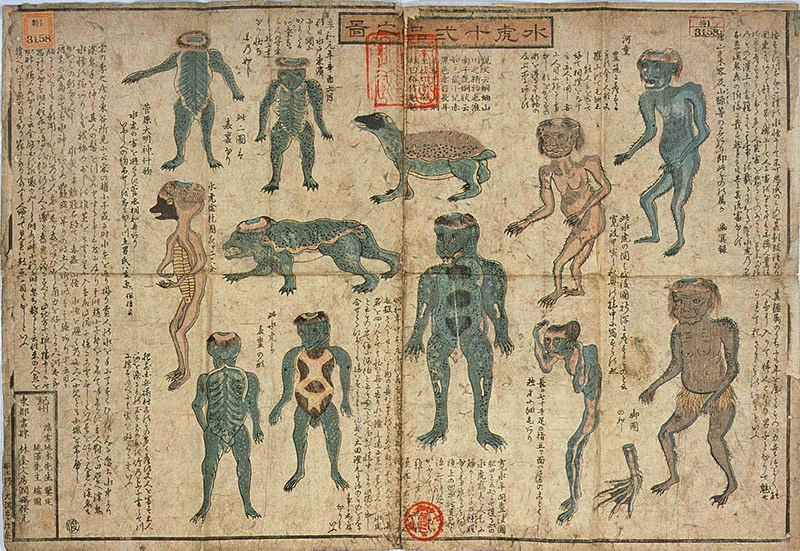 old anthropomorphic art of japanese kappa