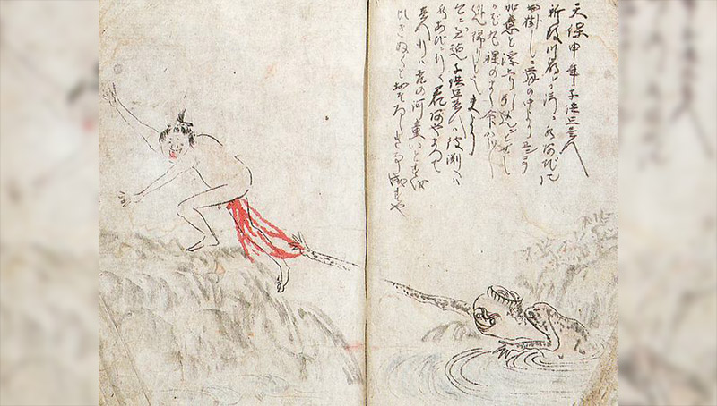 old japanese art featuring kappa butthole