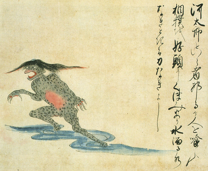 japanese art old scroll frog with hair kappa