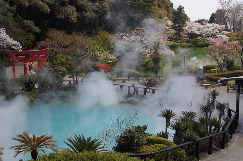 Steam rising from a park in Beppu