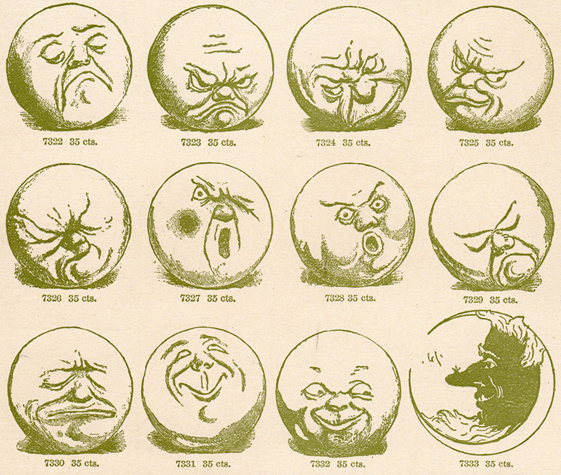 old picture of the moon making various faces