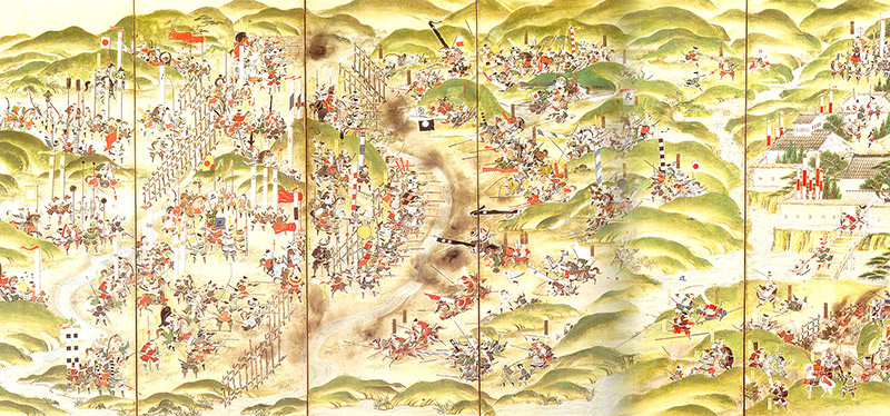 A scroll painting of the Battle of Nagashino