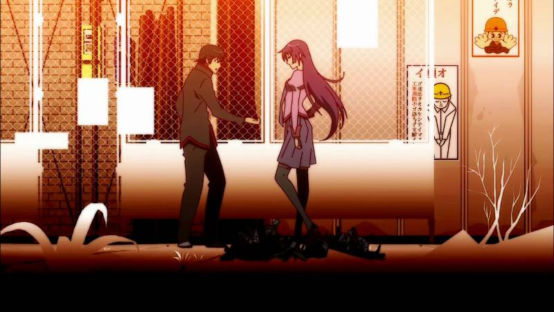 bakemonogatari anime with male character holding hand out to female character