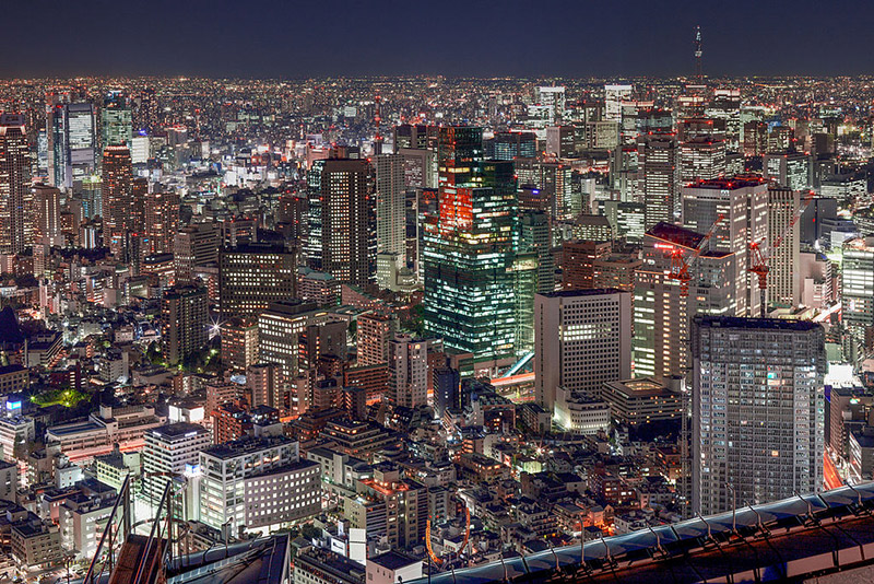 view of Roppongi skyline at night