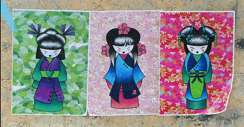 Series of artwork of a Japanese girl in a kimono