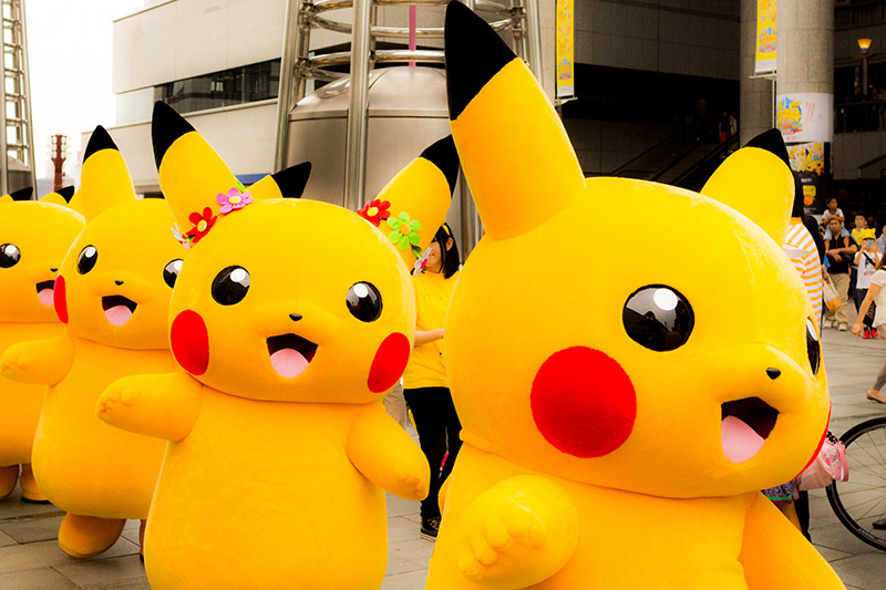 A parade of the Pokemon character Pikachu