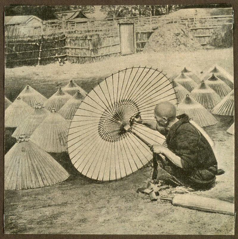 old photo japanese man making an umbrella