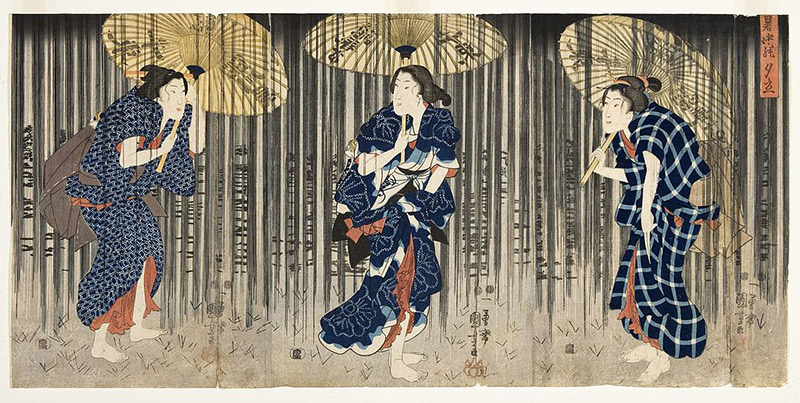 old japanese painting three men in snow