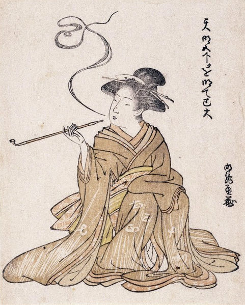 Painting-of-a-lady smoking a kiseru pipe