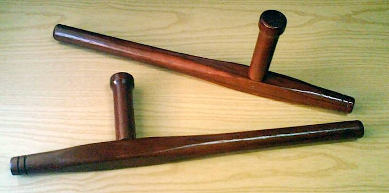 Two-Tonfa,-or-a-wooden-baton