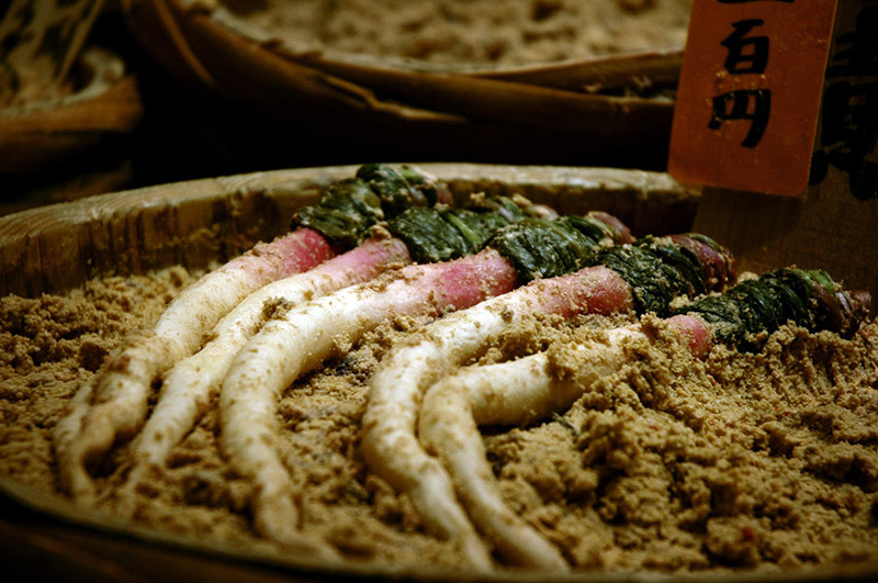 Tsukemono Japanese Pickles and Radish in Rice Bran