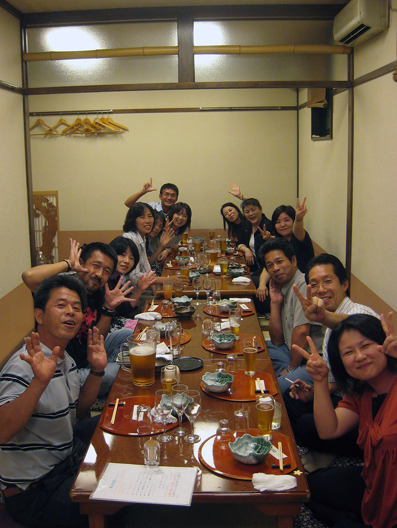Japanese school teachers at an enkai drinking party
