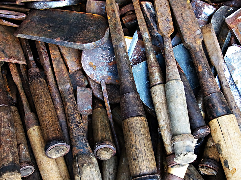 old tools in a pile