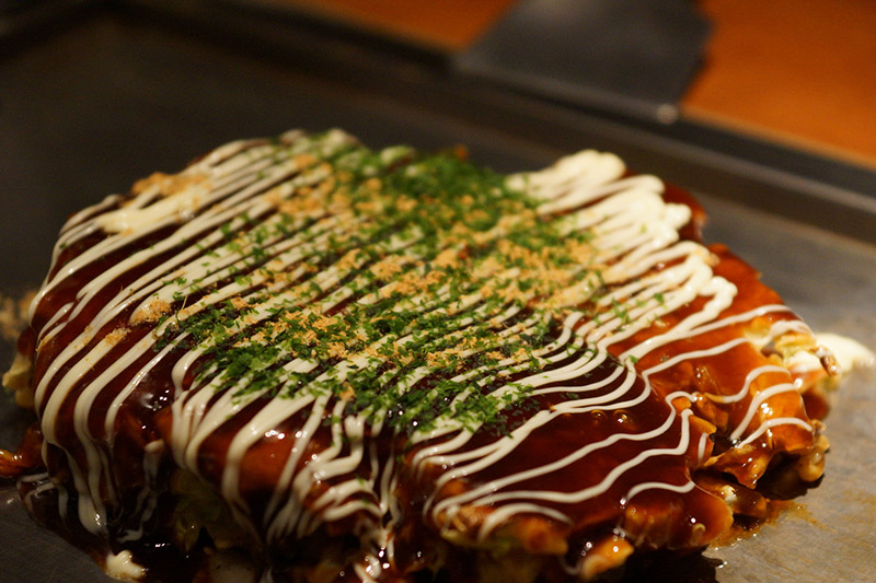 okonomiyaki on the griddle