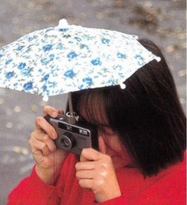 umbrella on top of camera
