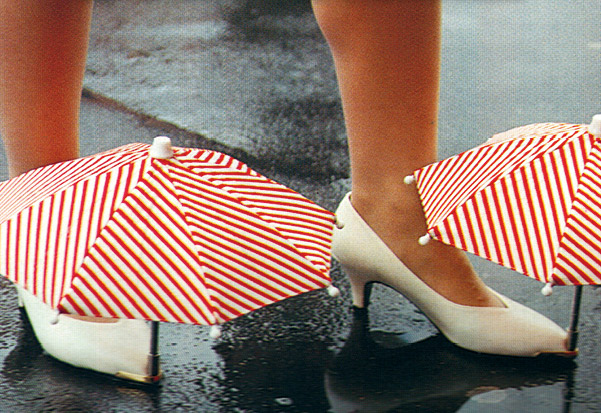 shoes with umbrellas on the tips