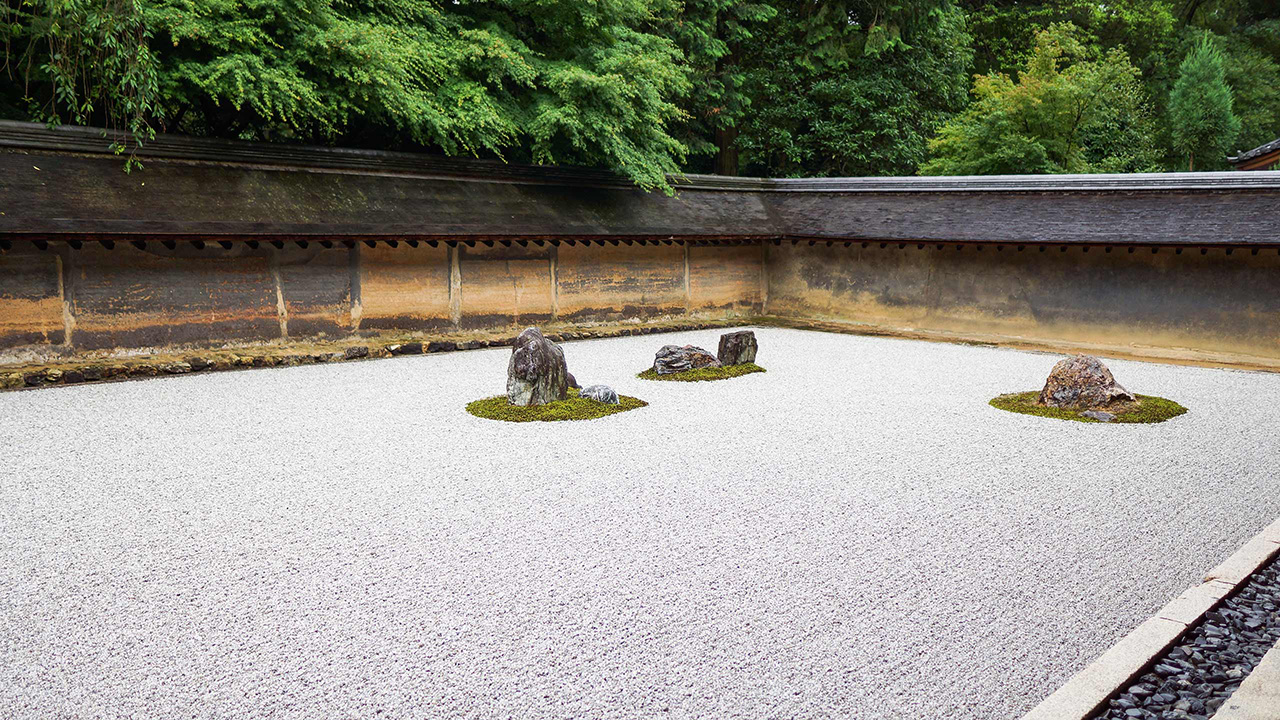 wabi-sabi rock garden at ryoan-ji temple in kyoto