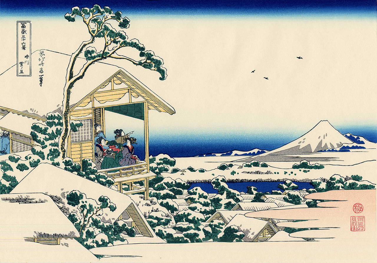 ukiyo-e print of tea house after snow by hokusai