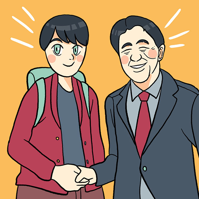 otaku shaking hands with shinzo abe