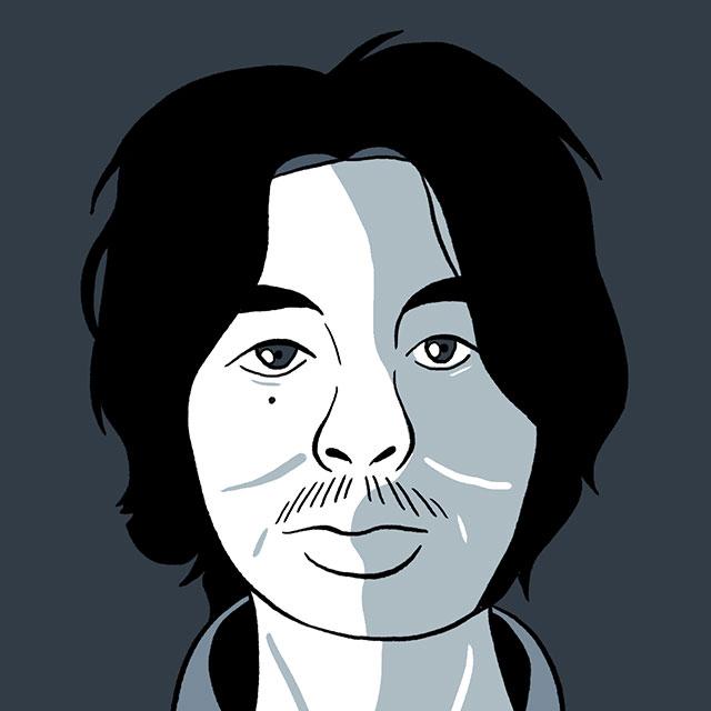 illustrated mugshot of miyazaki tsutomu