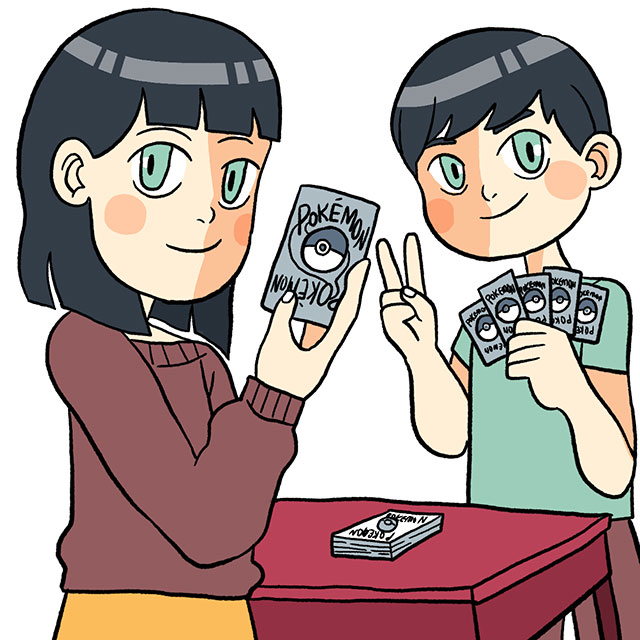 two children playing with pokemon cards