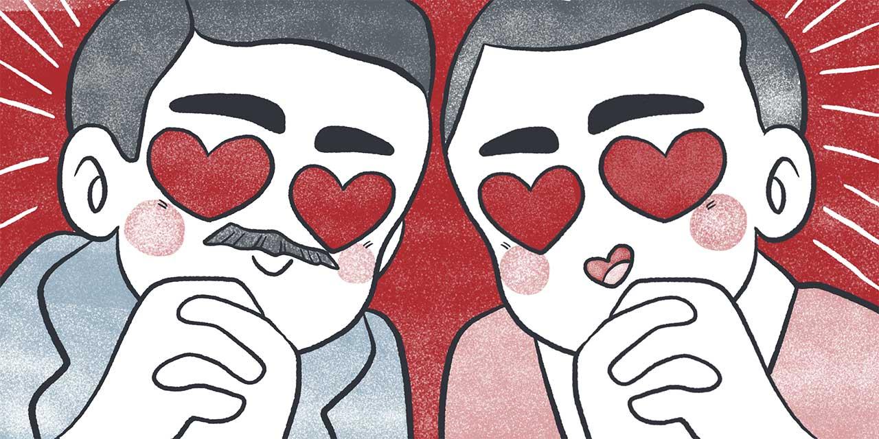 mori ogai and koda rohan giving heart eyes to higuchi ichiyo