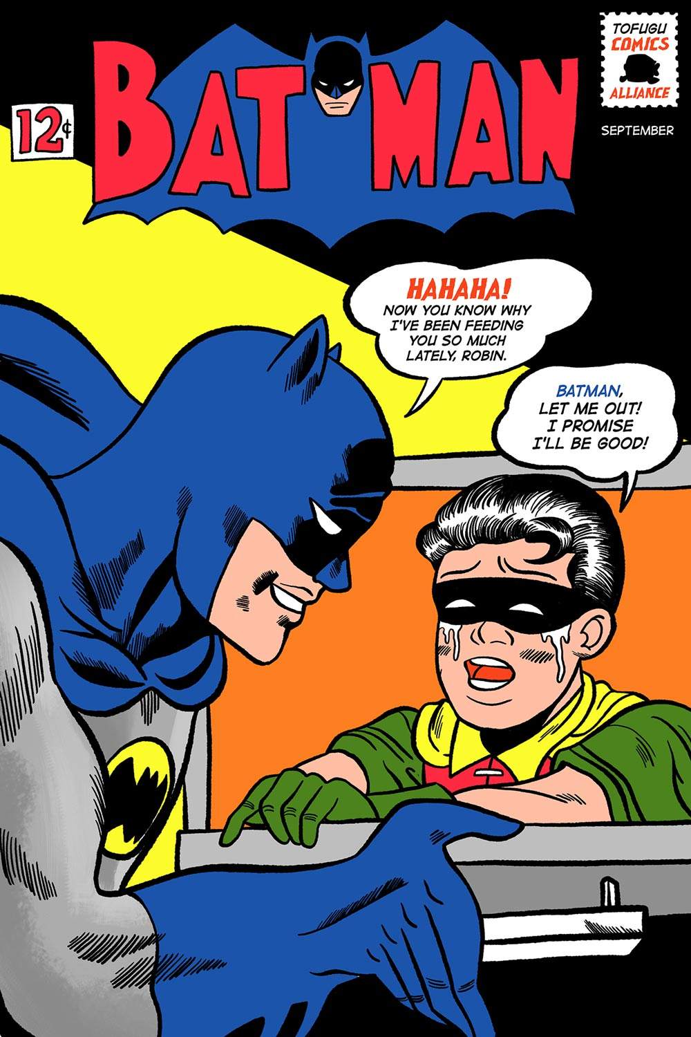 batman doujinshi featuring robin in an oven