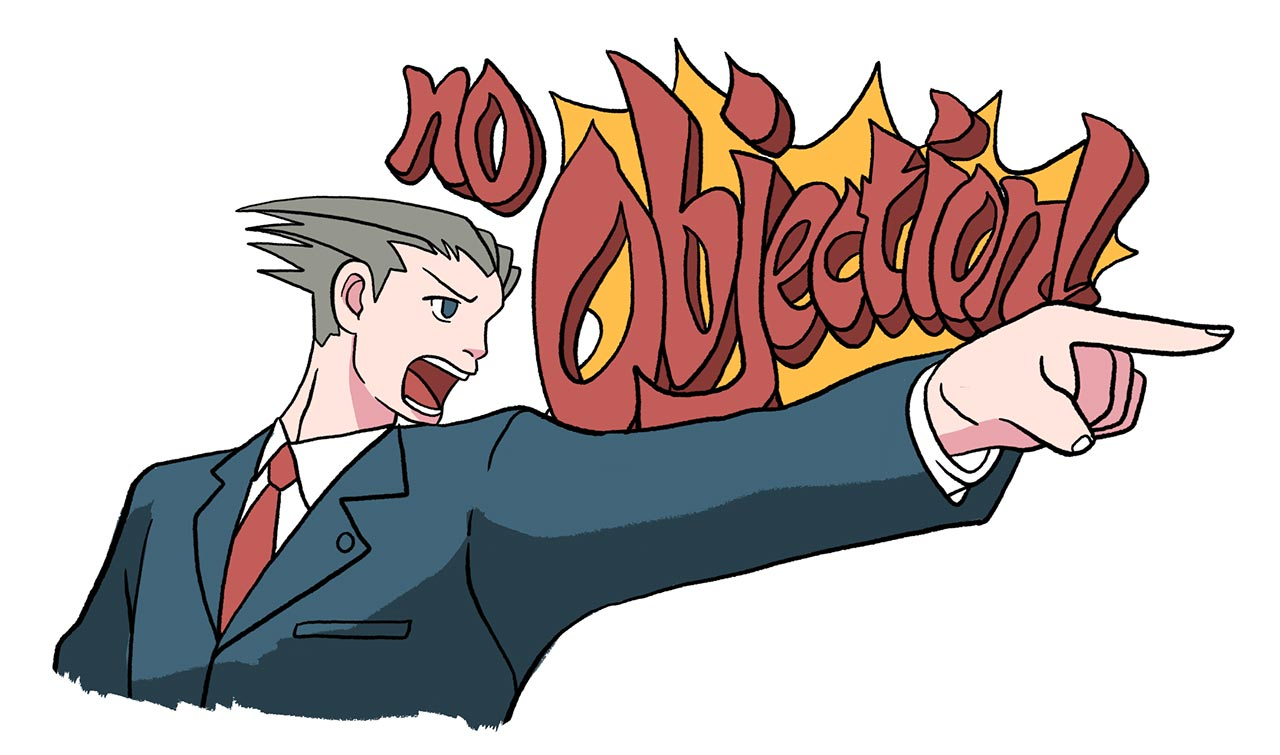 phoenix wright yelling no objection at doujinshi