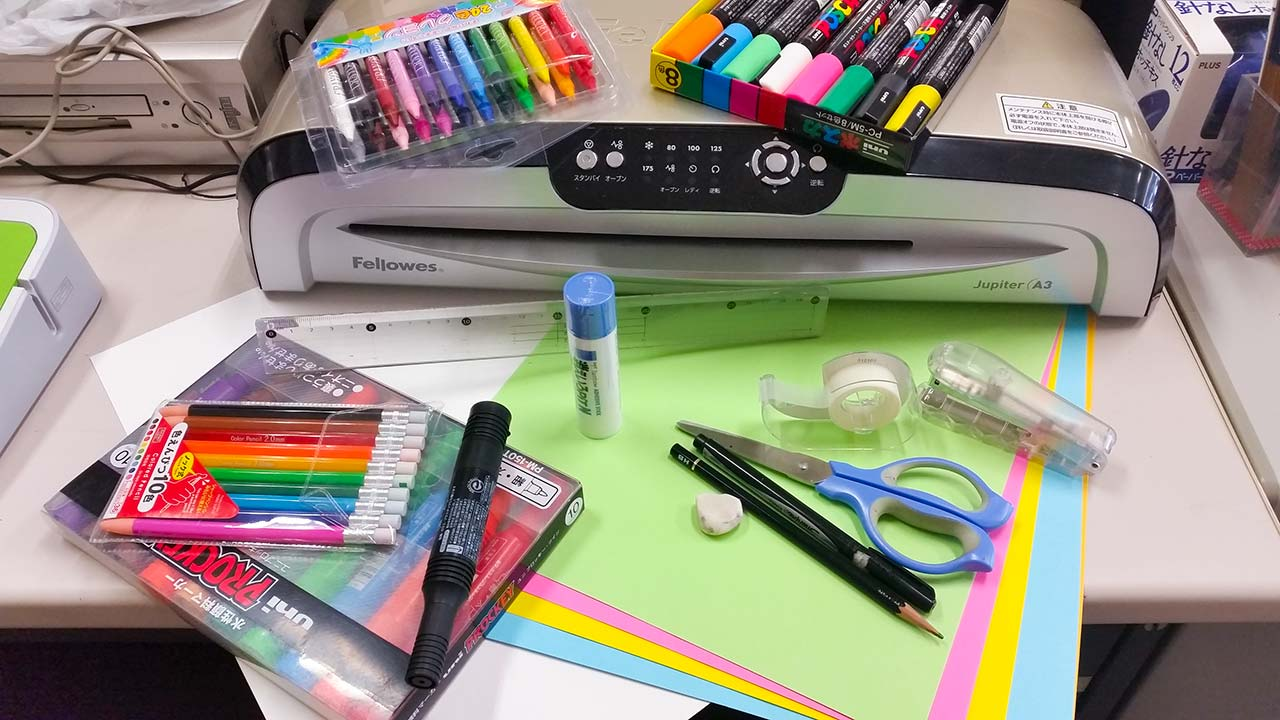 pens and supplies for making english bulletin boards