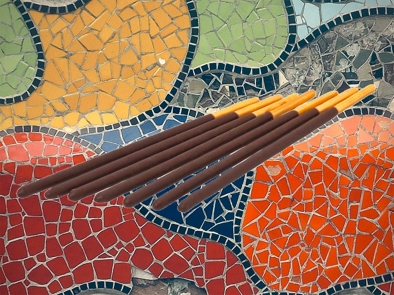 pocky in front of a mosaic