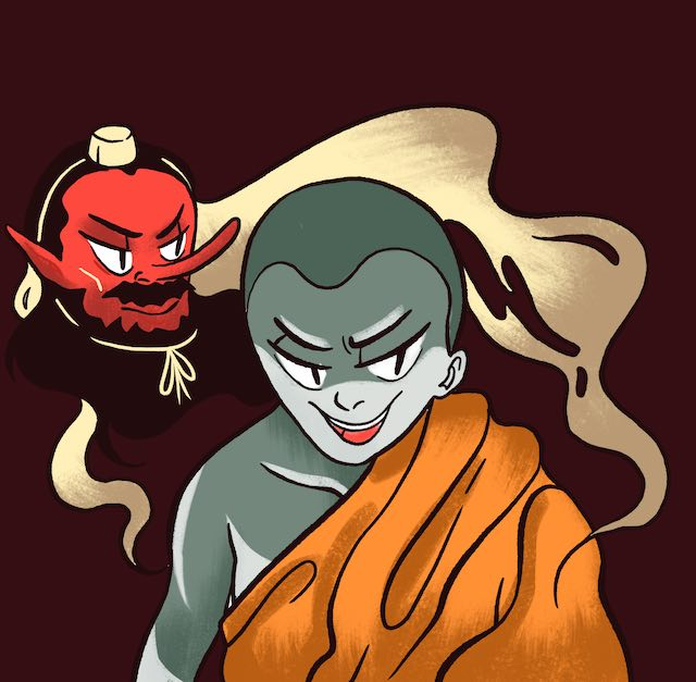 Tengu possesses monk